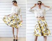 MISS SIXTY Italian vintage yellow white brown cotton full pleated knee length flared midi skirt S