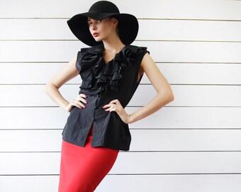 Vintage black silk cotton dark goth ruffled jabot sleeveless blouse shirt top M-L