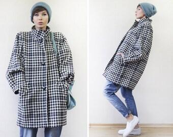 Vintage black white houndstooth wool wide dolman drop sleeve single breasted jacket coat