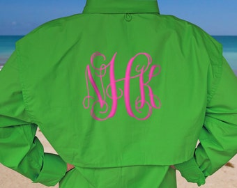 NEW! Monogram Fishing Shirts, LONG SLEEVE Fishing Shirts, Men's Fishing Shirt, Monogram Beach Cover Up, Beach Fishing Shirt