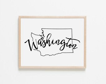 Washington Horizontal Nursery Art. Nursery Wall Art. Nursery Prints. Washington Wall Art. State Wall Art. Washington Nursery.