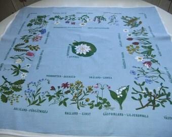 Vintage Swedish printed blue cotton tablecloth - Landscape flowers