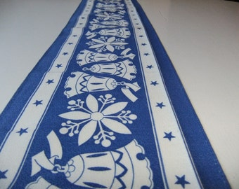 Vintage Swedish traditional 1950s printed Christmas tablecloth in blue and white