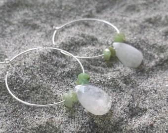 Serling Silver Opal/Moonstone Earrings