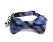 Cat Dog Bow Tie Collar, Check in Purple Haze, Cat Dog Collar BowTie, Handmade