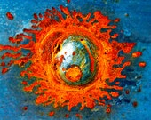 Abstract Fine Art Photography Industrial Rust Orange Blue Silver, Solar Flare 16x24 - Onetime Custom Listing