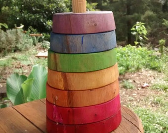 Rainbow stacking toy/ Rainbow Stacker ring/ Wooden ring stacker toy / Stacker toy for baby / Wood ring toy / wiwiurka