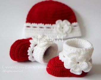 Crochet baby booties and hat set, baby girl, shoes, boots, socks,  beanie, red, white, FREE SHIPPING UK, 0-3 months, baby shower gift