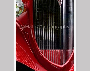 Abstract Red Chrome Hotrod Classic Car Ford Fender Grille Patterns Fine Art Photography, 12 x 18 Original Photograph, unmatted, unframed