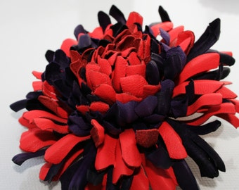 Red/violet Leather Chrysanthemum Flower Brooch/ Hairclip