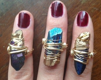 crystal ring / bohemian ring / boho ring / gold dipped crystal rings / wire wrapped crystal / raw crystal ring / gold dipped quartz