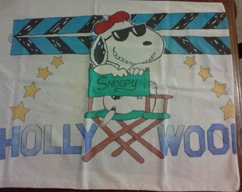 Vintage Snoopy Pillow Case Lucy Peanuts 1960-1970 Linens Bedding Cartoon