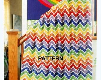 Crochet Afghan Pattern, Granny Rainbow Ripple, Throw Blanket Pattern