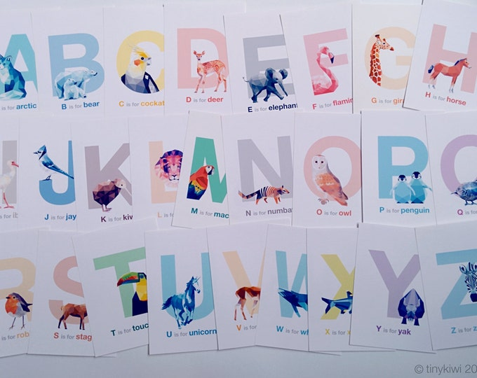 ABC cards, Alphabet art, Animal alphabet, Nursery alphabet, Baby nursery art, Geometric prints, Alphabet flash cards, Polar bear, tinykiwi