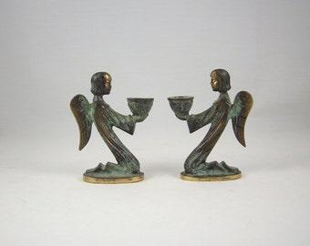 Mid Century West German Verdigris Brass Angel Candleholders