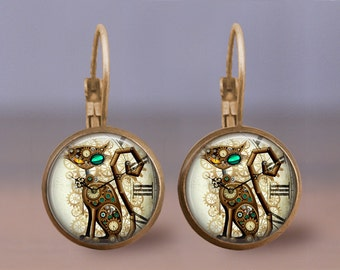 Steampunk Cat,  Steampunk earrings, Steampunk Jewelry