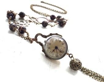 Watch Necklace, Real Clock Necklace, Vintage Watch Necklace, Antique Brass Orb Watch Necklace, Steampunk Watch Necklace, Steam Punk Clock