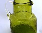 Danish Modern Style Green Glass Blenko Mini Pitcher Ewer Vintage Retro 1960s