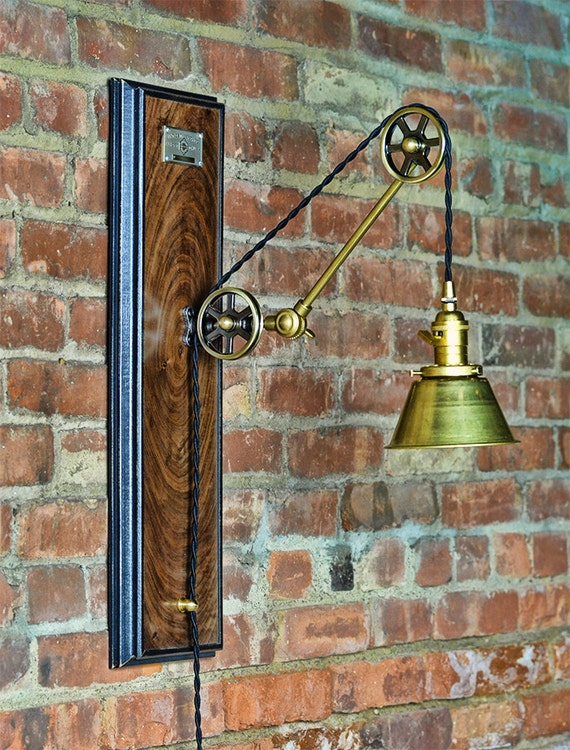 Pulley Wall Sconce Industrial Steampunk Plug In Pulley
