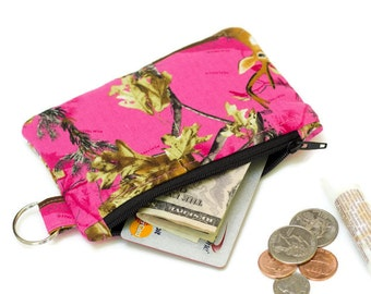 Pink Camo Keychain Coin Purse - Card Wallet - Id holder - Card holder - small wallet - Keychain Pouch -  Pink Camo Coin Pouch - Small  pouch