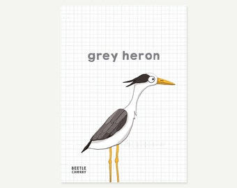Mini bird print - grey heron