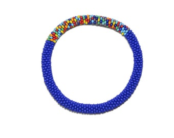 Matte Blue with Accent of Mixed Crocheted Beaded Bracelet, Japanese Seed Beads,Nepal, Roll on, Color block,PB344