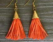 Lightweight beaded tassel earrings - available in orange, royal blue or dusty pink