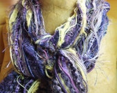 Sports Scarf, Team Colors Vikings, Ravens, Northern Iowa Fiber Art Fringe Scarf  Purple and Gold, Purple and Yellow, Violet