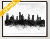 Houston Cityscape Black and White Poster FRAMED  Skyline Watercolor - Art Print Poster Framed - Rustic Decor - Ready to Hang