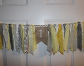 Baby Boy or Girl Gender Neutral Yellow and Gray First Birthday High Chair Cake Smash Burlap Banner - Rag Tie Fabric Party Decoration, Photo