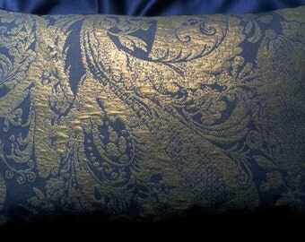Lumbar Throw Pillow Cover Metallic Lampas Rubelli Fabric Blue Purple and Gold Re Mida Pattern Backed with Rubelli Velvet - Made in Italy
