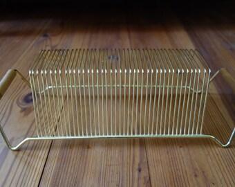Vintage Record Rack, Mid Century, Gold Tone Metal Wire, 45's, Album Rack, Home Decor, Records, Music Rack, Racks, Record Storage