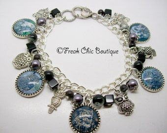Owl Charm Bracelet, Owl jewelry, Owl Bracelet, Bird Bracelet, Charm Bracelet