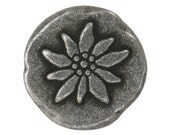 3 Mountain Flower 3/4 inch ( 20 mm ) Dill Metal Buttons Antique Tin Color