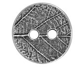 3 TierraCast Round Leaf 5/8 inch ( 17 mm ) Two-Hole Pewter Buttons Antique Silver Color