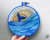 Whale and Waves Ocean Art, Boho Beach Decor, Sunset Embroidery Hoop Art, Coastal Home Decor, Painted Denim Fabric, Mixed Media, Rustic Beach