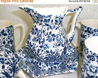 ON SALE Vintage Blue Chintz Enesco Imports Japan set pitcher or creamer with saucer and 4 cups Shabby Chic Cottage Chic