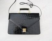 Vintage Black faux Croc Skin Briefcase Bag / Purse / Patent