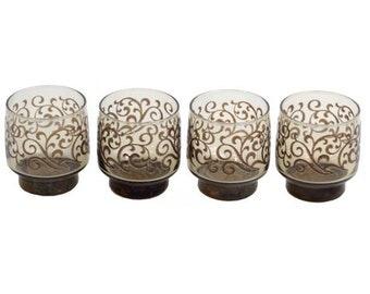 Retro Brown Swirl Rocks Glasses Barware Vintage circa 1950 50s 60s bar mod