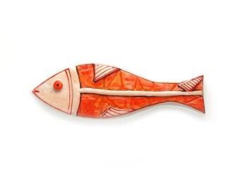 Funky fish sculpture, Nautical home decor, Fish decor, Wall hanging pottery fish, Ceramic fish, Handmade ceramic, Orange fish
