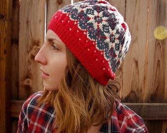 PDF Pattern Knitting Knit Cap / Hat / Tam / Beret. Digital / instant download. fair isle / stranded knitting. Instructions. Tutorial.
