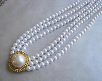 Statement Triple Strand Pearl Necklace - Vintage White Pearls - Elegant Vintage Pearl Necklace