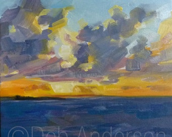 Small Oil Painting of an Ocean Sunset