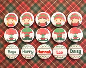 Personalised Christmas Badge - Elf Badge Set - Christmas badge - Stocking Filler - Button Set - Badge Set - Christmas - Holiday Meals