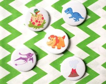 Dinosaur badge set - dinosaur birthday - dinosaur party favour - dinosaur party - dinosaur gift - party bag filler - gifts for children