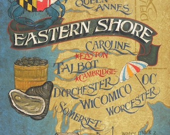 Maryland Eastern  Shore  Map style  Print