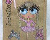 Handpainted Personalised Ballet Bridesmaid Jute Handbag Gift Bag Wedding Party Celebrity Style