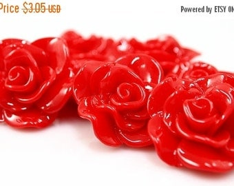 ON SALE Resin Cabochon - 5pcs - Flower Cabochon - Luscious Red Flower Cabochon - Cabochon - SW005-20