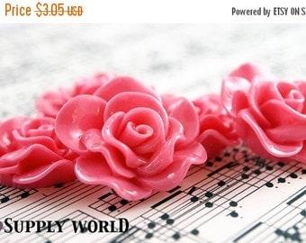 ON SALE Resin Cabochon - 5pcs - Flower Cabochon - Pink Flower Cabochon - Cabochon - SW005-7