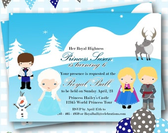 Frozen Birthday, Frozen Birthday Party, Printable Frozen Invites, Elsa Invitation, Frozen Invitation, Anna Invitation, Frozen Invites - P61